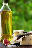 Codfish oil and garlic ingredients of portuguese cuisine. poster