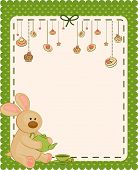 Vintage background with sweet cakes and rabbit poster
