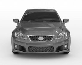 Car Isolated On White - Gray Paint, Tinted Glass - Front View - 3d Rendering