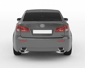 Car Isolated On White - Gray Paint, Tinted Glass - Back View - 3d Rendering