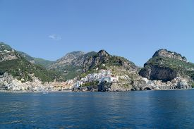 Sea At Amalfi And Atrani Coast In Summer - Naples, Italy