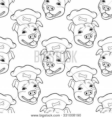 Pit Bull Terrier In A Chefs Cap. Seamless Pattern, Digital Paper Vector Illustration. Vector Logo Pu