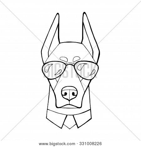 Dog Doberman With In A Dark Glasses. Vector Illustration. Coloring Book Page. Humor Poster, T-shirt