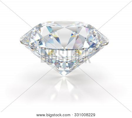Large Beautiful Diamond. 3d Image. Light Background.