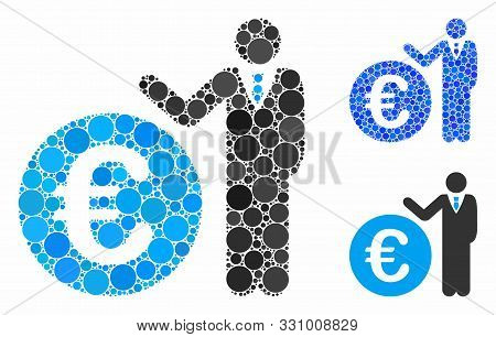 Euro Economist Composition Of Round Dots In Various Sizes And Shades, Based On Euro Economist Icon.