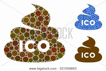Ico Shit Composition Of Filled Circles In Various Sizes And Color Hues, Based On Ico Shit Icon. Vect
