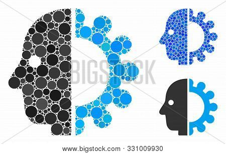 Cyborg Head Composition Of Round Dots In Different Sizes And Shades, Based On Cyborg Head Icon. Vect