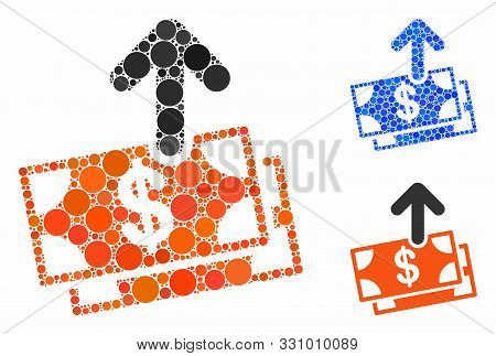 Spend Money Mosaic Of Round Dots In Different Sizes And Color Hues, Based On Spend Money Icon. Vecto