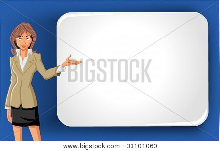 Cartoon business woman and white billboard with empty space. Presentation screen.