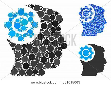 Intellect Gear Rotation Composition Of Filled Circles In Variable Sizes And Color Tones, Based On In