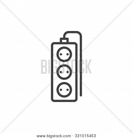 Wired Electric Extension Cord Line Icon. Linear Style Sign For Mobile Concept And Web Design. Tree P