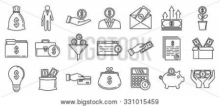 Investor Finance Icons Set. Outline Set Of Investor Finance Vector Icons For Web Design Isolated On