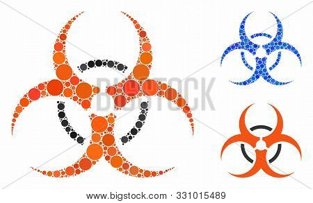 Bio Hazard Mosaic Of Round Dots In Various Sizes And Color Hues, Based On Bio Hazard Icon. Vector Ro