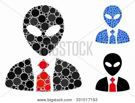 Alien Boss Mosaic Of Round Dots In Different Sizes And Shades, Based On Alien Boss Icon. Vector Roun