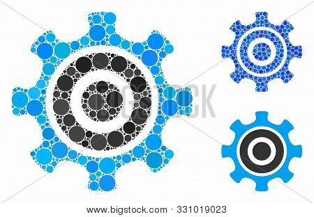 Cogwheel Mosaic Of Circle Elements In Different Sizes And Color Tinges, Based On Cogwheel Icon. Vect
