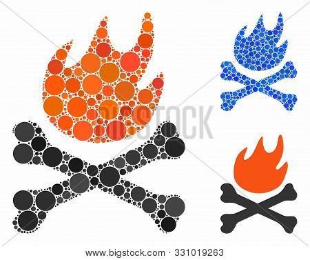 Bones Hell Fire Composition Of Spheric Dots In Variable Sizes And Color Hues, Based On Bones Hell Fi