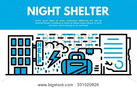 Night Shelter Banner. Outline Illustration Of Night Shelter Vector Banner For Web Design