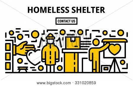 Homeless Shelter Banner. Outline Illustration Of Homeless Shelter Vector Banner For Web Design