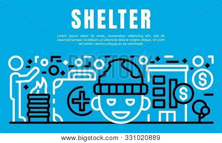 People Shelter Banner. Outline Illustration Of People Shelter Vector Banner For Web Design