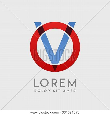 Ov Logo Letters With Blue And Red Gradation