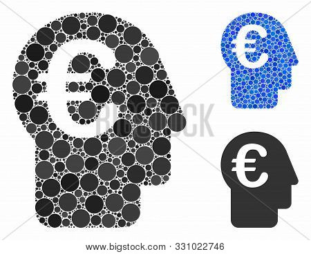 Euro Banker Composition Of Round Dots In Various Sizes And Color Tones, Based On Euro Banker Icon. V