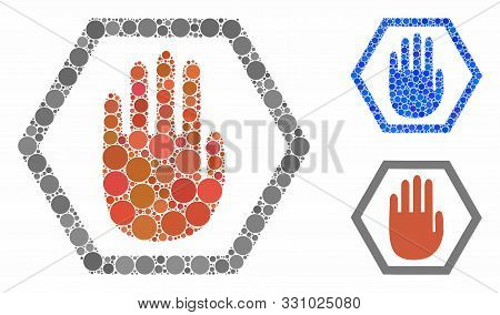 Abort Hand Composition Of Round Dots In Variable Sizes And Color Tints, Based On Abort Hand Icon. Ve