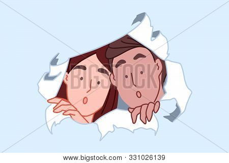 Curiosity And Discovery Concept. Shocked Couple Peeking Through Torn Paper Hole, Spying Woman And Ma