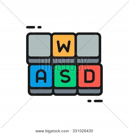Hotkeys, Game Keyboard Flat Color Line Icon.
