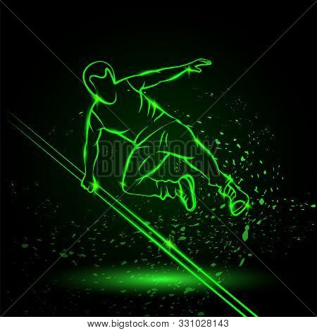 Parkour Man Jump Over An Obstacle. Vector Green Neon Sports Illustration On A Black Background.