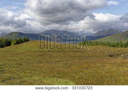 View West Down Loch Loyne With Spdean Mialach & Creag Coire Na Fiar Bhealaich Beyond  Glen Loyne, Hi