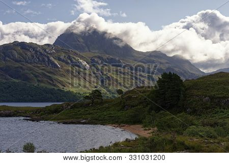 Loch Maree With The Crags Of Caisteal Mor & Slioch (980m) In The Clouds  Loch Maree, Highland, Scotl