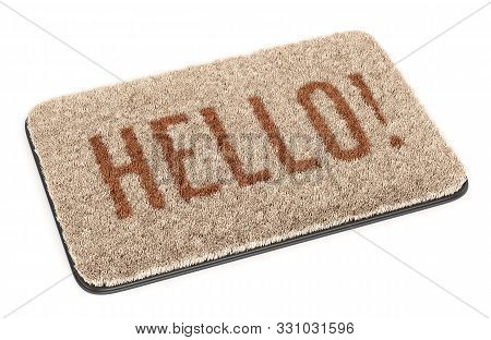 Brown Coir Doormat With Text Hello Isolated On White Background. 3d Illustration