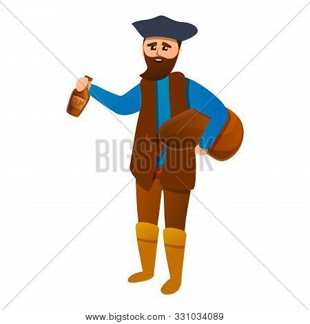 Pirate With Rum Bottle Icon. Cartoon Of Pirate With Rum Bottle Vector Icon For Web Design Isolated O