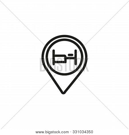 Hotel Location Line Icon. Location Mark, Map, Navigation. Hotel Concept. Vector Illustration Can Be