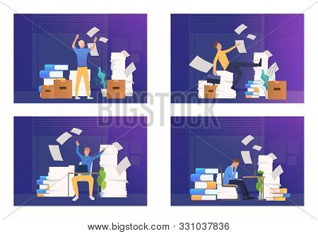 Employee Annoyed With Paperwork Set. Man Working Among Stacks Of Documents, Throwing Papers. Flat Ve