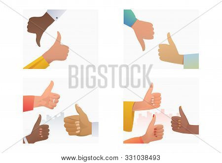 Thumb Gestures Set. Multiethnic Group Of People Making Like And Dislike Hand Gestures. Flat Vector I