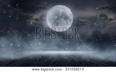 Dark abstract winter forest background. Wooden floor, snow, fog. Dark night background in the forest