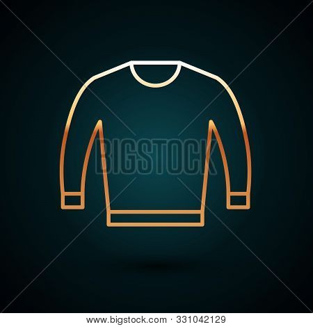 Gold Line Sweater Icon Isolated On Dark Blue Background. Pullover Icon. Vector Illustration