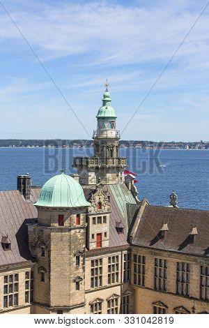 Helsingor, Denmark - July 23, 2019: Medieval Kronborg Castle On The Oresund Strait, Courtyard , Balt
