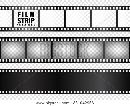 Realistic Film Strips Collection. Old Retro Cinema Movie Strip. Vector Illustration. Video Recording
