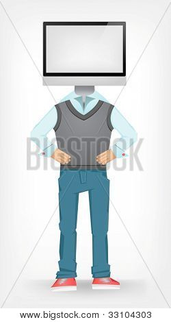 Computer Guy Isolated on Grey Gradient Background. Vector EPS 10.