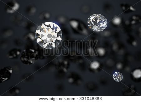 Black And White Diamonds On A Dark Abstract Background. Diamond Rain. 3d Generated Image.