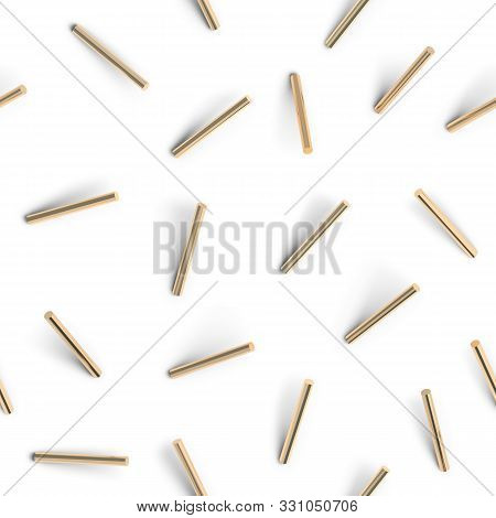 Seamless Pattern Of Golden Cylinders. 3d Image. Abstract Background.
