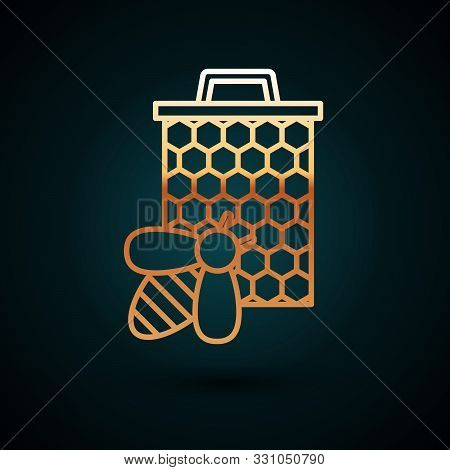 Gold Line Bee And Honeycomb Icon Isolated On Dark Blue Background. Honey Cells. Sweet Natural Food.