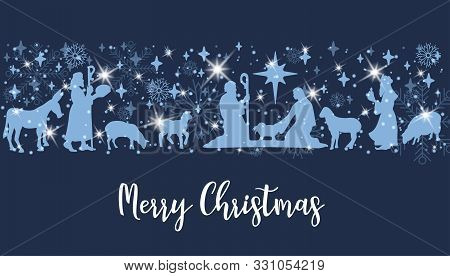 Birth Of Christ Scene Horizontal Banner. Merry Christmas Card With Nightly Christmas Cribe With Mary