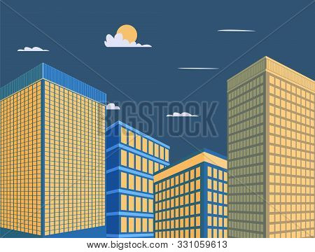 Mordern Building Design Vector Illustration.tower With Sky Background.downtown In Night Scene.perspe