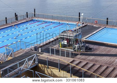 Helsinki, Finland - September 3, 2019: Allas Sea Pool In The Center Of Helsinki Near Sea Port