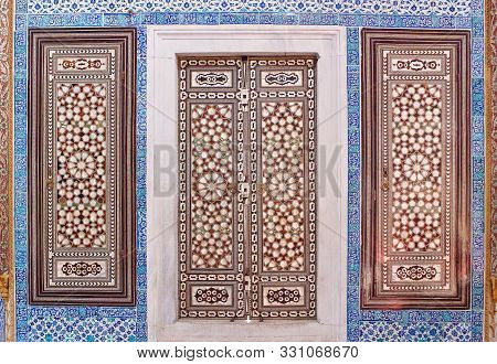 Istanbul, Turkey - November 8, 2017: Doors With Mother-of-pearl Inlay In Oriental Style - Exterior D