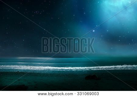 Seascape At Night. Fabulous Starry Sky From The Coast.