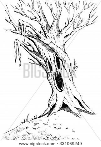 Angry Enchanted Tree With Scary Face. Halloween Monsters Spooky Haunted Tree. Vector Illustration